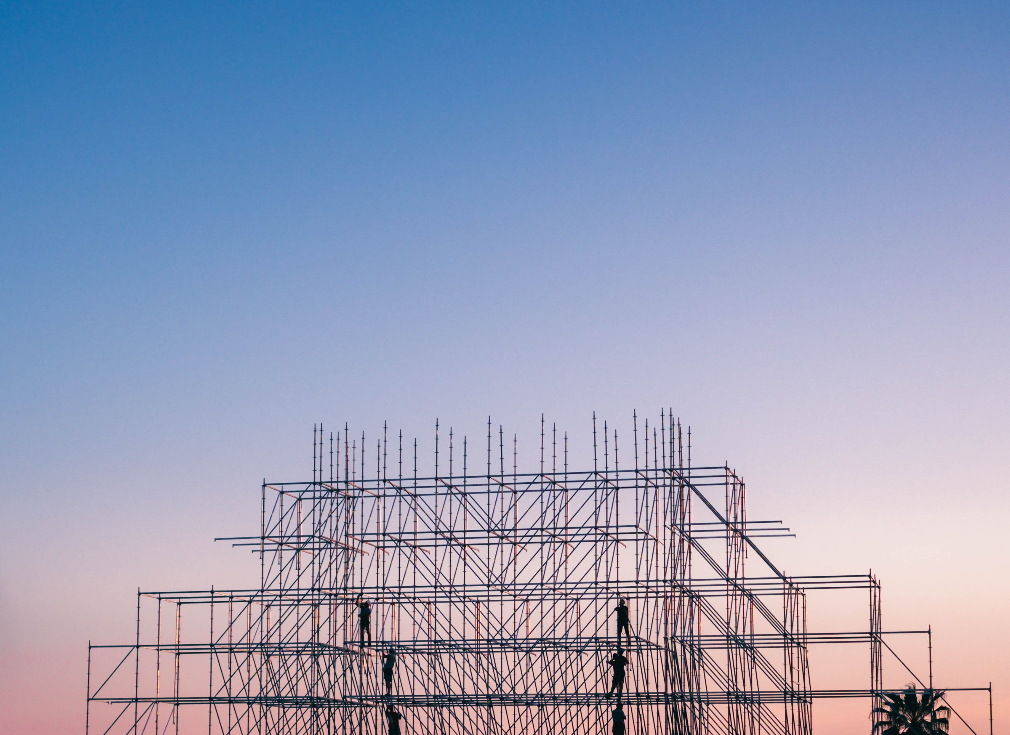 A scaffold reaching to the sky